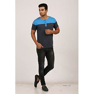 Zero One Multicolor Henley Half Sleeve T-shirt for Men