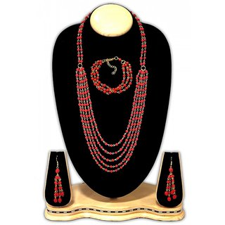 Urban Trendz  Multistranded Beaded Necklace set with earrings  Bracelet UT10178