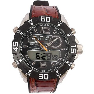 Revv Round Dial Brown Analog-Dight For Men-Gi8201Wblackbrown