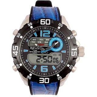 Revv Round Dial Blue Analog-Dight For Men-Gi8201Wblackblue