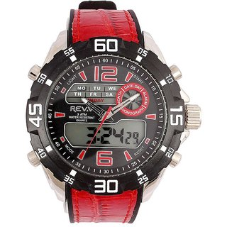 Revv Round Dial Red Analog-Dight For Men-Gi8201Wblackred