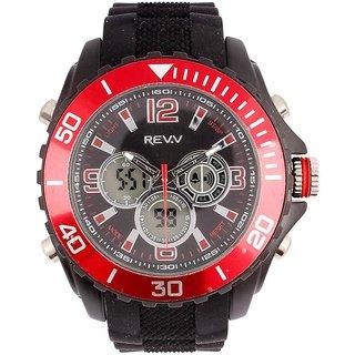 Revv Round Dial Black(Red) Analog-Dight For Men-Gi8203Wblackredblack
