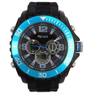 Revv Round Dial Black(Blue) Analog-Dight For Men-Gi8203Wblackblueblack