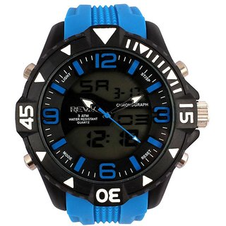 Revv Round Dial Blue Analog-Dight For Men-Gi8204Wblueblackblue