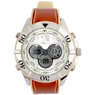 Revv Round Dial Brown Analog-Dight For Men-Gi8205Wwhitebrown