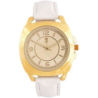 Tichino Round Dial White Analog Watch For Women-Gi7273Wgoldwhite