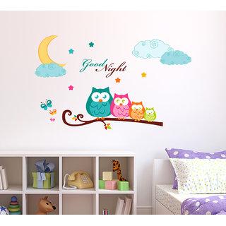 Wallstick  ' Good Night' Wall Sticker (Vinyl, 100 cm x 60 cm, Multicolor)-57-WL-0027
