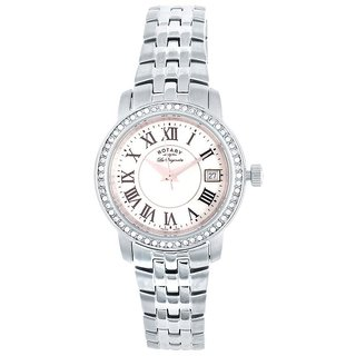 Rotary Round Dial Silver Analog Watch For Women-Lb9009041