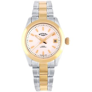 Rotary Round Dial Two Tone Analog Watch For Women-Lb0266111