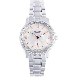 Rotary Round Dial Silver Analog Watch For Women-Lb0270041