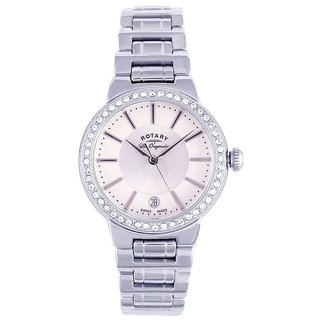Rotary Round Dial Silver Analog Watch For Women-Lb9008102L