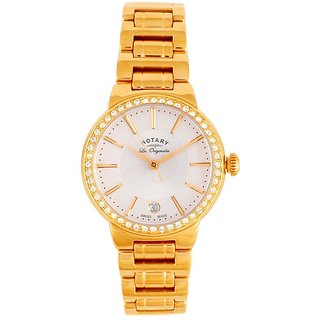 Rotary Round Dial Rose Gold Analog Watch For Women-Lb9008502L