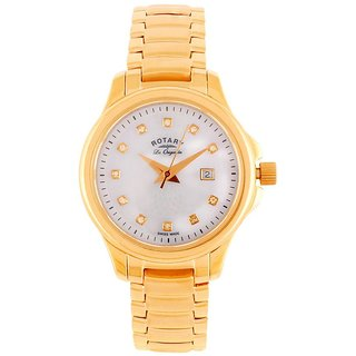 Rotary Round Dial Rose Gold Analog Watch For Women-Lb9012041