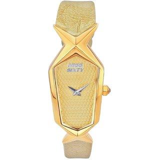 Miss Sixty Rectangle Dial Light Golden Analog Watch For Women-Scj002