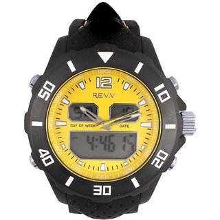 Revv Round Dial Black Analog-Dight For Men-Gi8206Wyellowblack