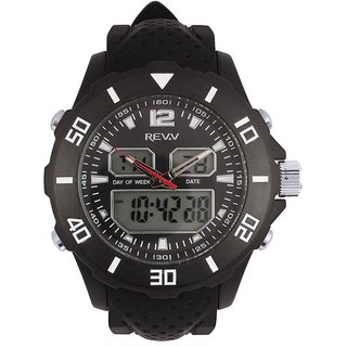 Revv Round Dial Black Analog-Dight For Men-Gi8206Wblackblack