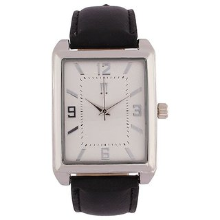 Tichino Rectangle  Dial Black Analog Watch For Unisex-Gi8208Wwhiteblack