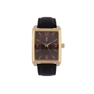 Tichino Rectangle  Dial Black Analog Watch For Unisex-Gi8208Wbrownblack
