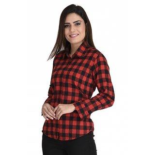 Akshayta Store Women's Checkered Formal Red Shirt