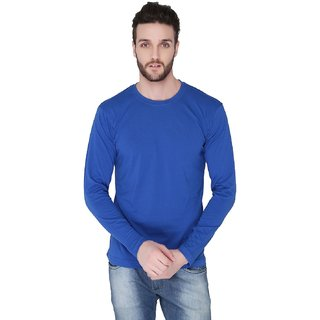 Joke Tees Solid Men's Round Ribbed Long T-Shirt(Royal Blue)