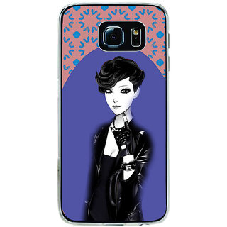 ifasho Girl in Black Jacket Back Case Cover for Samsung Galaxy S6 Edge