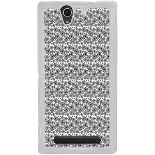 ifasho Animated Pattern black and white flower Back Case Cover for Sony Xperia C4