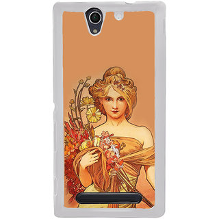 ifasho Young Girl with flower in hand Back Case Cover for Sony Xperia C4