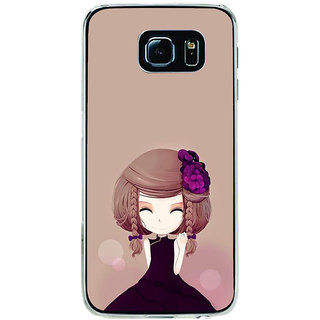 ifasho Girl  with Flower in Hair Back Case Cover for Samsung Galaxy S6 Edge