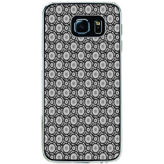 ifasho Animated Pattern design black and white flower in royal style Back Case Cover for Samsung Galaxy S6 Edge
