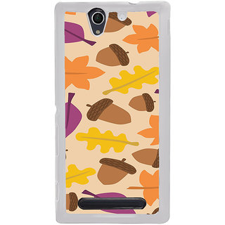 ifasho Animated Pattern colrful design leaves and nuts Back Case Cover for Sony Xperia C4