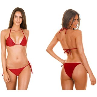 SHIMMERING BIKINI BRA THONG PANTY SET IN STRINGS-RED COLOUR
