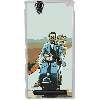 ifasho husband and wife happy drive in scooter Back Case Cover for Sony Xperia T2