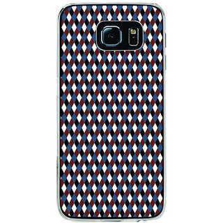 ifasho Maroon Colour rectangular Pattern Back Case Cover for Samsung Galaxy S6 Edge