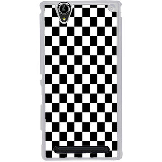 ifasho Squre and Checks In black and white Pattern Back Case Cover for Sony Xperia T2