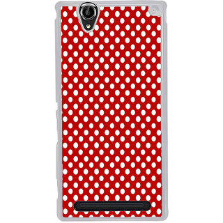 ifasho Animation Clourful white Circle on red background Pattern Back Case Cover for Sony Xperia T2