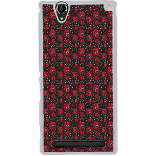 ifasho Animated Pattern small red rose flower with black background Back Case Cover for Sony Xperia T2