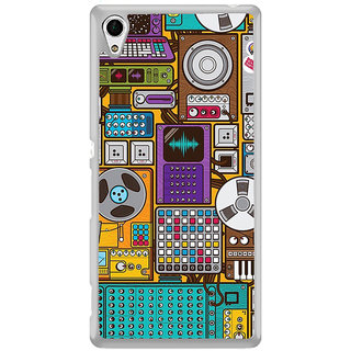 ifasho Animated Pattern design music recording cartoons tape  Back Case Cover for Sony Xperia Z3 Plus