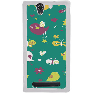 ifasho Animated Pattern birds and butterfly Back Case Cover for Sony Xperia C4