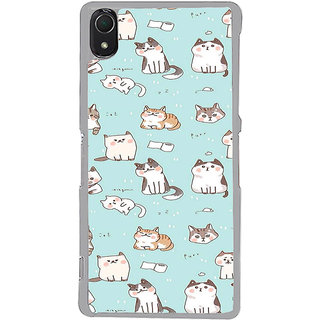 ifasho Animated Design  Many Cat Back Case Cover for Sony Xperia Z3
