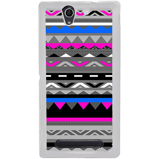ifasho multi color Triangular and circle Pattern Back Case Cover for Sony Xperia C4