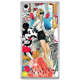 ifasho Modern Art Design Pattern girl shop car food bird Back Case Cover for Sony Xperia Z3 Plus