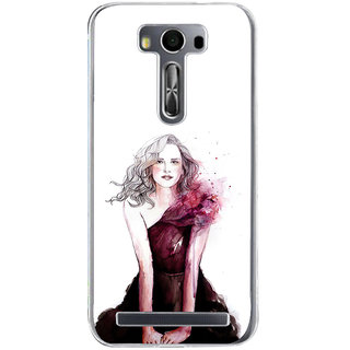 ifasho Cute Winking Girl painting Back Case Cover for Zenfone 2 Laser ZE500KL