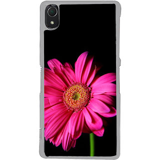 ifasho Flower Design Pink flower in black background Back Case Cover for Sony Xperia Z3
