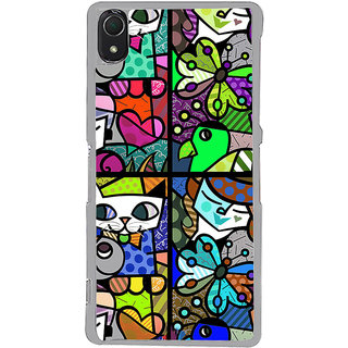 ifasho Modern Art Design Pattern Lot of fish Back Case Cover for Sony Xperia Z3