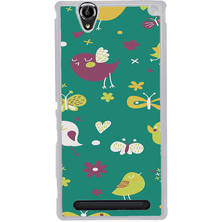 ifasho Animated Pattern birds and butterfly Back Case Cover for Sony Xperia T2