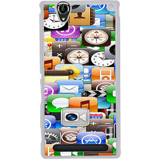 ifasho Modern  animated Design Pattern mobiles camera Back Case Cover for Sony Xperia T2