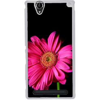 ifasho Flower Design Pink flower in black background Back Case Cover for Sony Xperia T2