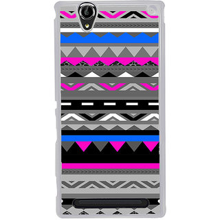 ifasho multi color Triangular and circle Pattern Back Case Cover for Sony Xperia T2