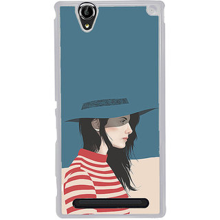 ifasho Girl with Blue Cap and Red strip skirt Back Case Cover for Sony Xperia T2