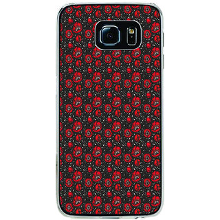 ifasho Animated Pattern small red rose flower with black background Back Case Cover for Samsung Galaxy S6